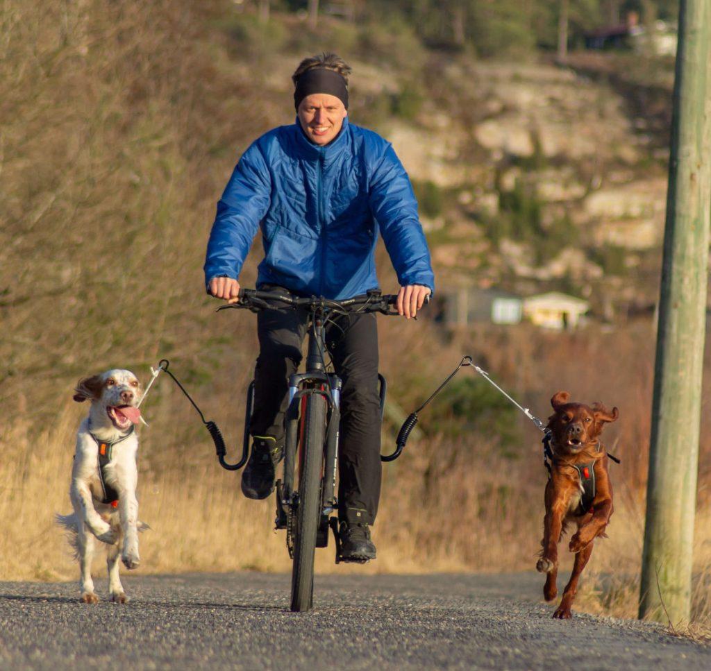 sykkeltur dobbelarm hund springer